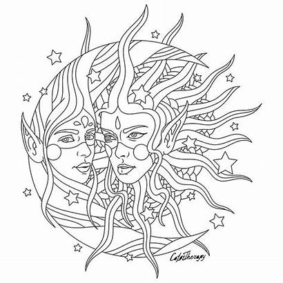 Coloring Pages Moon Drawing Fantasy Adults Hippie