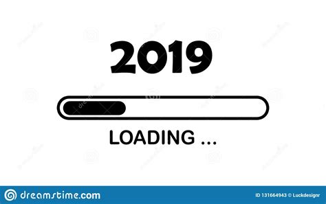 Happy New Year 2019 With Loading Icon Neon Style. Progress
