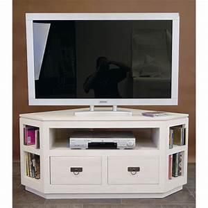 Meuble Angle Tv : meuble d angle tv blanc meuble tv hifi bois maisonjoffrois ~ Teatrodelosmanantiales.com Idées de Décoration
