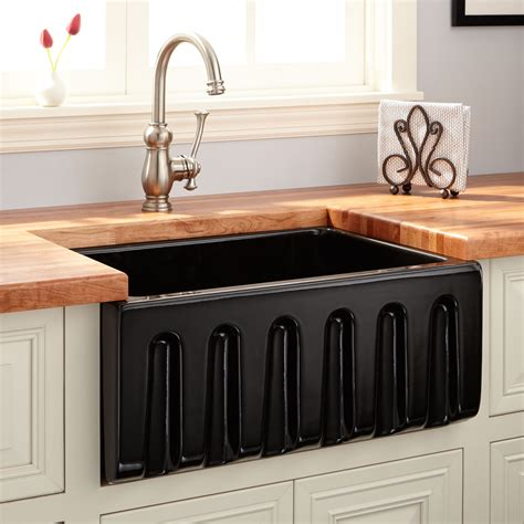 mitzy fireclay reversible farmhouse sink fluted front