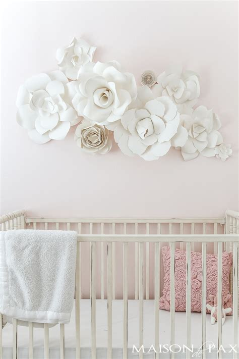 How to make wall hanging with paper flower and glue only. Paper Flower Wall Art in the Nursery - Maison de Pax