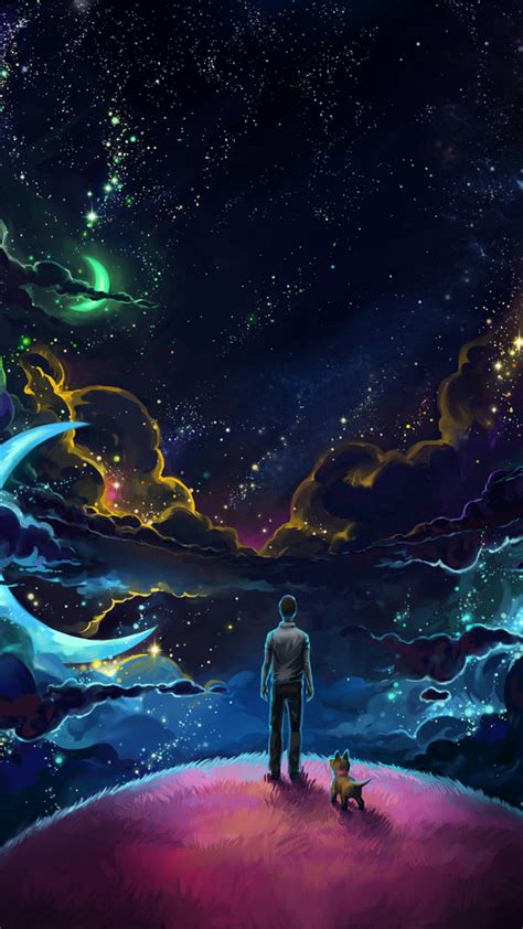 Download Man And Dog And Neon Space 2932x2932 Resolution