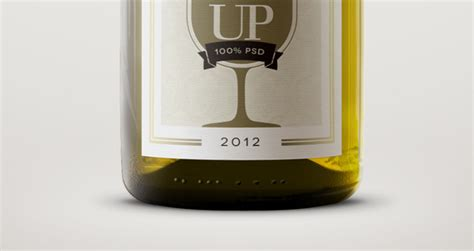 psd white wine bottle mockup psd mock  templates pixeden