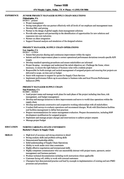 Supply Chain Project Manager Resume by Project Manager Supply Chain Resume Sles Velvet