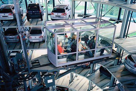 volkswagen parking lot towers at autostadt