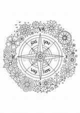 Coloring Compass Adult Printable Colouring Rose Pirate Sheet Sheets Instant Unique Draw Kolor sketch template