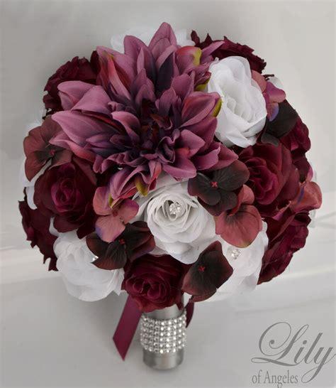 piece package silk flower wedding bridal bouquet plum