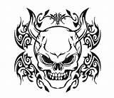 Demon Coloring Skull Tribal Tattoo Drawings Easy Drawing Head Stencil Tattoos Stencils Silhouette Demons Skulls Evil Printable Getdrawings Template Patterns sketch template