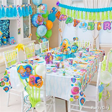 bubble guppies party table idea party city