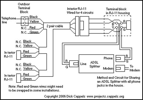 Telephone Dsl Splitter Wiring Diagram by Adsl Splitter Adapter 1 Basic Circuit Circuit
