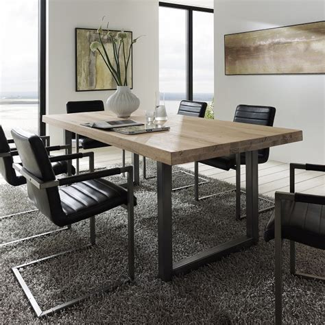 oak and steel dining table textured up close treviso solid oak metal dining table