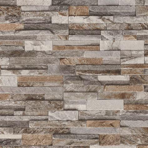 grey brick wall tiles details about brick wall stone brown beige grey slate tile wall feature wallpaper 42106 10