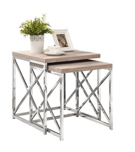 monarch specialties 2 piece natural chrome nesting tables