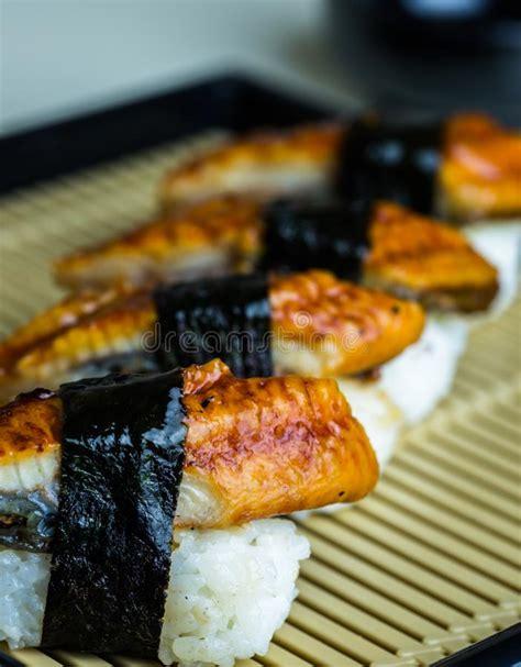 eel smoke sushi japanese cuisine stock image image