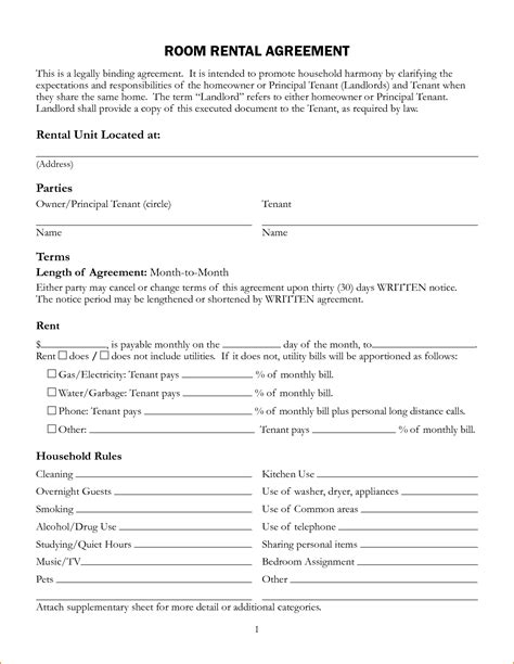 room rental agreement form template 6 sle room rental agreement teknoswitch