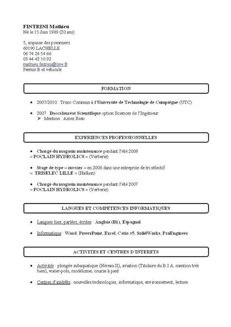 model de cv simple word cv par competences exemples