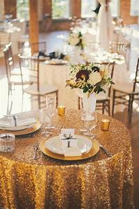 Gold, Sequined, Linen, Sweetheart, Table, Decor