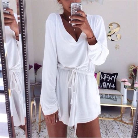 Dress romper white dress beach summer dress white top jumpsuit white summer dress white ...