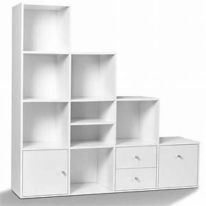 meuble de rangement escalier 4 niveaux bois blanc avec With meuble de rangement avec tiroir