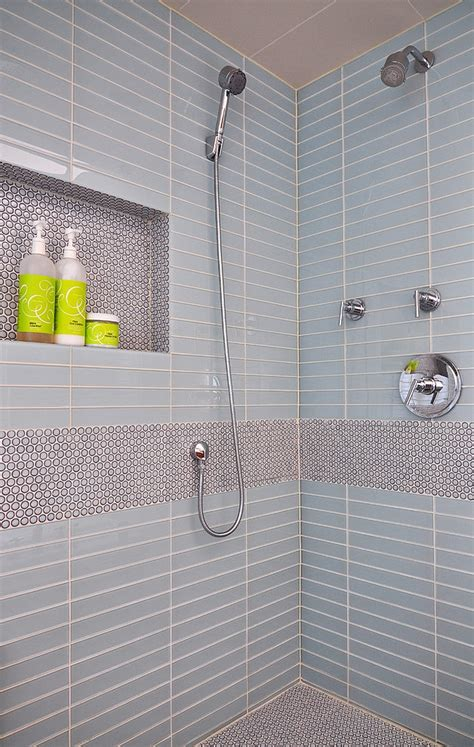 Shower Niche Height by 20 Inspirations That Bring Home The Beauty Of Penny Tiles