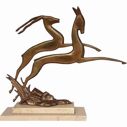 Deco Gazelle Sculpture Marble Base