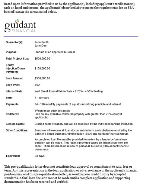 Introducing Guidant's SBA Pre-Qual Letter