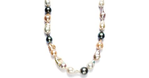 Macy's Pearl Necklace, Sterling Silver Cultured Tahitian And Multicolor Freshwater Pearl Baroque Jewelry Online Tv Exchange Totowa Jacksonville Ar Gold Chains And Electronics Kenosha Roanoke Va Calculator