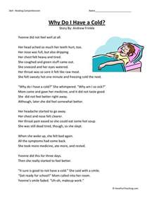 free third grade reading comprehension reading comprehension worksheet why do i a cold
