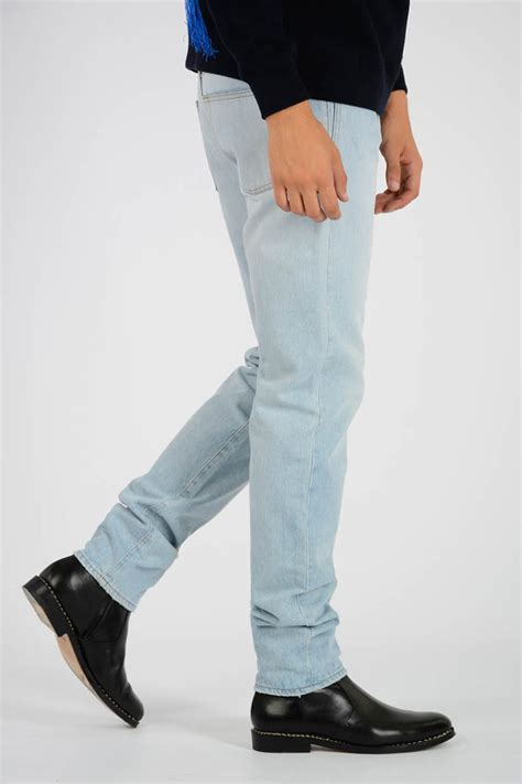 saint laurent  cm light denim color jeans men glamood outlet