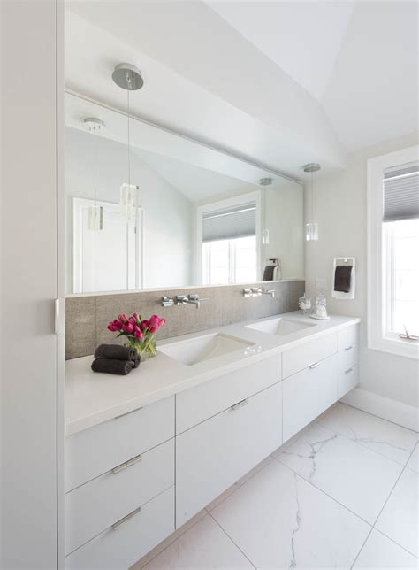 Modern Bathroom Sinks Toronto by Toronto Modern Bathroom With White Marble Floor Tile Sinks