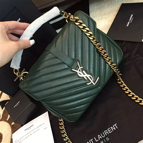 yves saint laurent ysl green college chain shoulder bag medium handbags leather green ref