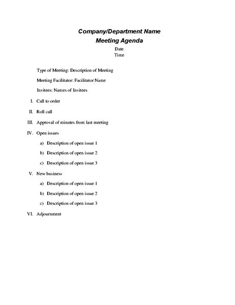 meeting itinerary formal meeting agenda