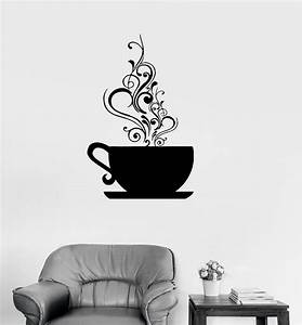 vinyl decal coffee cup cafe tea kitchen decor wall With what kind of paint to use on kitchen cabinets for personalized decal stickers