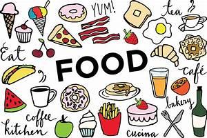Food Clip Art Hand drawn clip art food collage sheet
