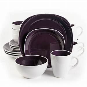 Gibson, Chicstone, 16, Piece, Dinnerware, Set, In, Purple, And, White