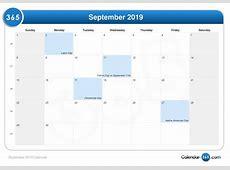 September 2019 Calendar With Holidays 2018 calendar