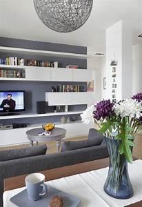 Graue Wandfarbe Wohnzimmer : ideen wohnzimmer streichen graue wandfarbe wei e regale modern wohninspirationen pinterest ~ Sanjose-hotels-ca.com Haus und Dekorationen