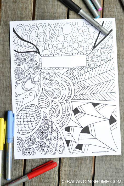 coloring page binder cover printable school