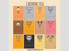 Animal calendar Vector Free Download