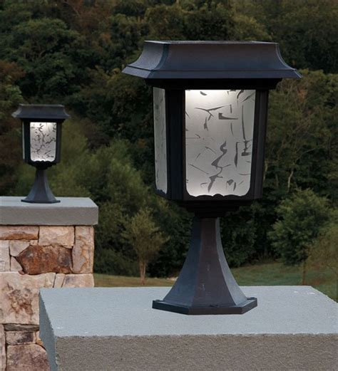set of 2 large aluminum solar post lights outdoor lighting