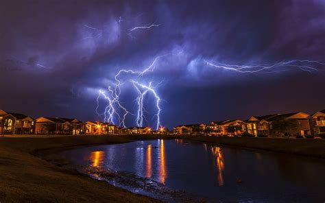 landscape lightning house reflection water storm