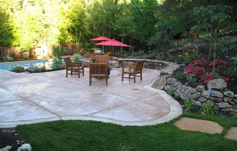 backyard cement patio ideas collection cozy look sted concrete patio pattern with colors option
