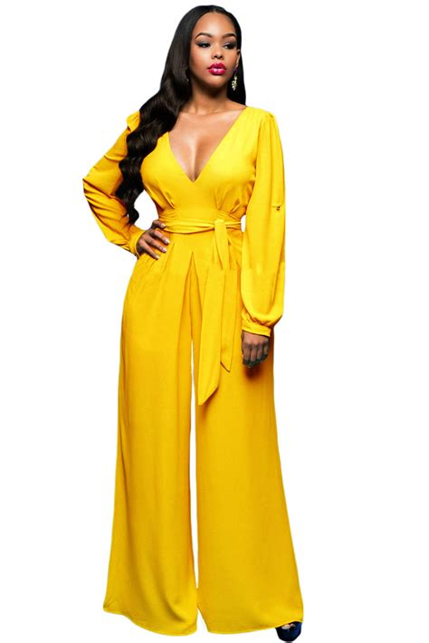 womens yellow jumpsuit us 9 78 yellow belted sleeves jumpsuit dropshipping