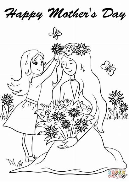 Coloring Happy Pages Mother Drawing Mothers Printable