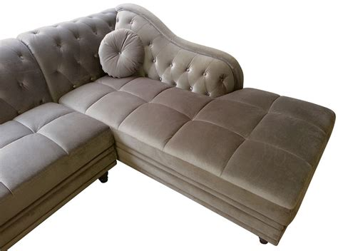canap 233 d angle droit empire velours taupe style chesterfield