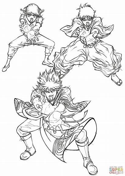 Coloring Pages Manga Gintoki Kagura Sakata Gin