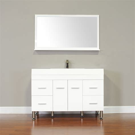 single modern bathroom vanity  white veltuz