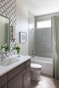 traditional guest bath with decorative tile backsplash hgtv