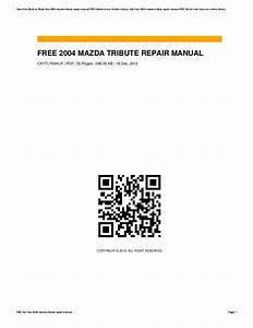 2004 Mazda Tribute Service Manual