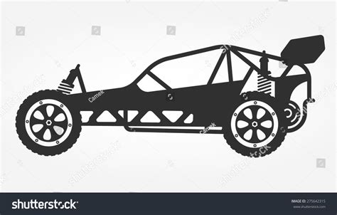 Rc Car Buggy Toy Isolated Silhouette Stock Vector